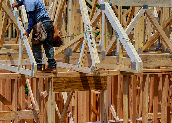 Wooden beam house roof residential construction home framing